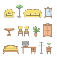 Isolated flat furniture outline icons set vector