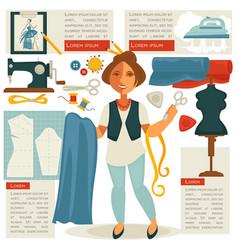 atelier tailor or dressmaker designer profession vector image vector image