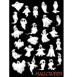 Big set of Halloween flying ghosts vector image vector image