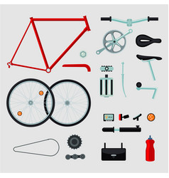 Bike details isolated on white bicycle parts vector