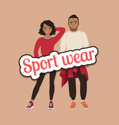 Black people in sport wear concept vector