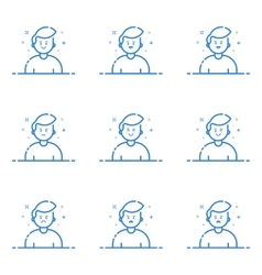 Blue icons in flat line vector