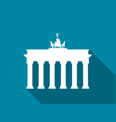 brandenburg gate with long shadow flat icon vector image