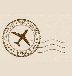 Brown postmark from venice italy grunge postal vector