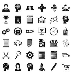 Business road icons set simple style vector