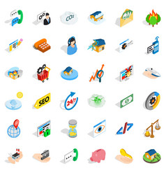 Call us icons set isometric style vector