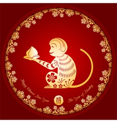 Chinese new year golden monkey background vector