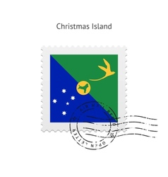 Christmas island flag postage stamp vector