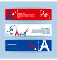 Collection of banners and ribbons with paris vector