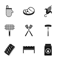 cooking on fire icons set simple style vector image