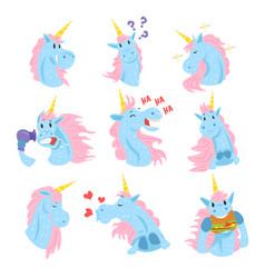cute unicorn characters set funny mythical vector image