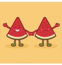 Cute Watermelon Fruit Slice Mascot Orange vector image vector image