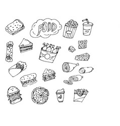 doodle food fries vector image