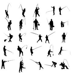 Fisherman silhouette set vector