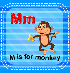 Flashcard letter m is for monkey vector