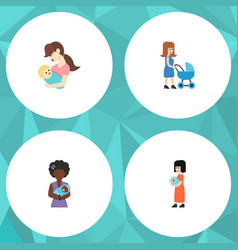 flat icon mam set of mam child baby and other vector image