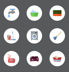 flat icons laundromat besom wisp and other vector image vector image