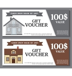 Gift voucher template with variation of house vector
