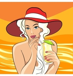 Girl with cocktail retro vector