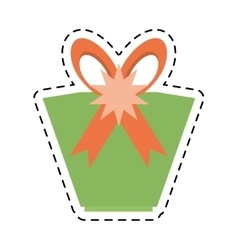 Green gift box star ribbon bow line dotted vector