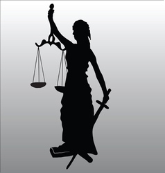 Justice statue silhouette vector image vector image