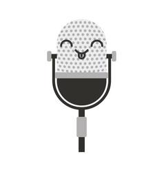 Kawaii vintage microphone cartoon vector