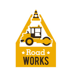 Logo paver road repair asphalt processing works vector