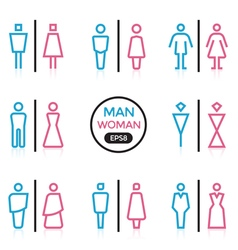 Man and woman sign outline stroke vector
