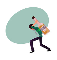 Man carrying huge liquor bottle on his back vector