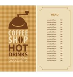 menu for a coffee shop vector image vector image
