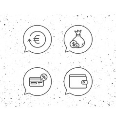Money cashback and wallet line icons coins vector