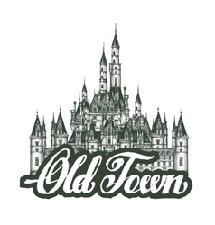Old town cartoon hand drawing houses vector