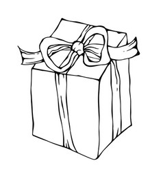 present box with ribbon ink vector image vector image
