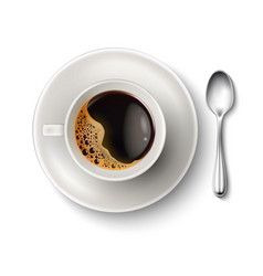realistic cup coffee saucer spoon top view vector image