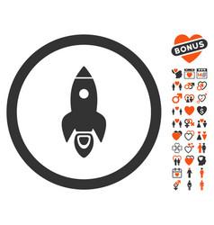 rocket start icon with love bonus vector image vector image