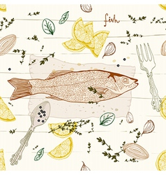 Seamless Background with fish dish vector image vector image
