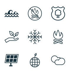 Set of 9 eco icons includes snow sun power vector