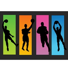 Set of basketball players silhouette vector image vector image