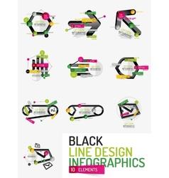 Set of minimal line design office web infographics vector image vector image