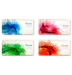 set of watercolor abstract banners vector image