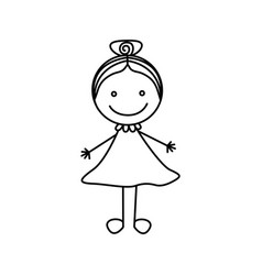 silhouette hand drawing cute girl with collected vector image vector image