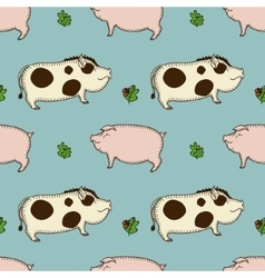 Simple seamless pattern with pig boar and vector
