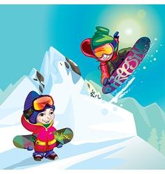 Snowboarders vector