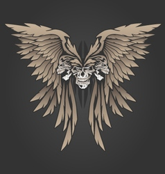 Three skulls with wings vector