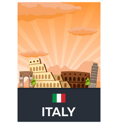 travel poster to italy flat vector image