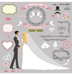 Wedding invitation decor setbride and groom vector