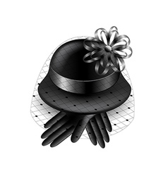 Womans black hat with veil isolated vector image