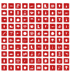100 garden icons set grunge red vector