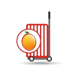 Trolley shop juicy peach fruit vector