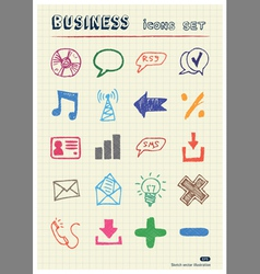 Business and media web icons set vector
